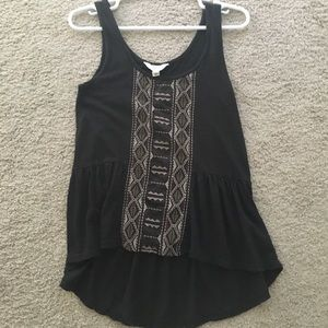 High Low Black Tank Top with Patchwork Details